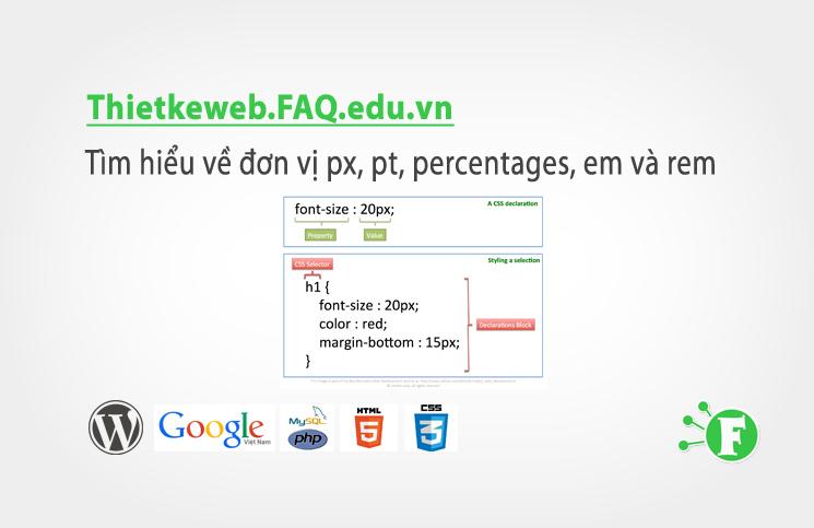 Bài 5. Tìm hiểu về đơn vị px, pt, percentages, em và rem